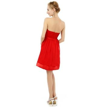 Red Chiffon Strapless A line Knee length Juniors Knee length Short dresses