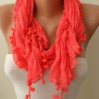 Bright Salmon Shawl / Scarf with Pompom