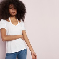 Slash Collar V-Neck Tee
