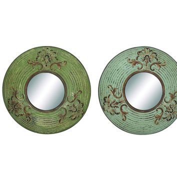 Round Shaped Metal Wall Mirror D'cor Set Of Four
