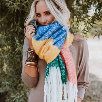 Rainbow Dreams Color Block Chunky Scarf