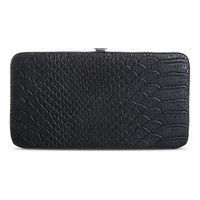Women's Snake Skin Print Wallet with Kiss Lock Clasp - Black