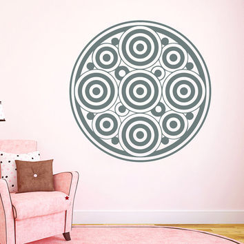 Flower Wall Decals Mandala Circles Om Yoga Pattern Oum Sign Living Room Interior Vinyl Decal Sticker Art Mural Bedroom Kids Room Decor MR372