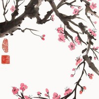 Plum Blossom Curve 8x10 Art Print | plasticpumpkin - Reproduction on ArtFire