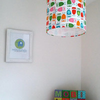 Owl lampshade, woodland theme room, children lighting, colourful room decor, perfect accessory for a owl themed bedroom