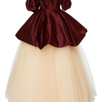 Off The Shoulder Gown With Bubble Peplum And Tulle Skirt   Moda Operandi