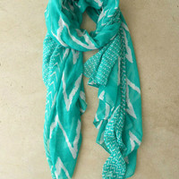 .Wavy Lines Scarf in Teal [3940] - $14.00 : Vintage Inspired Clothing & Affordable Dresses, deloom | Modern. Vintage. Crafted.
