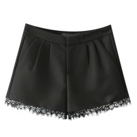 Ruched Bottom Lace Shorts