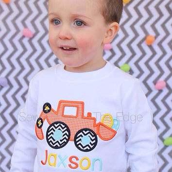 ORIGINAL - Custom Boys Easter Egg Dozer T-Shirt - Personalized - Applique Shirt - Toddler - Youth - Easter Top