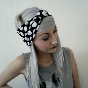 black and white POLKA DOT stretchy turban headband by ammeB