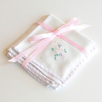 Vintage White Linen Luncheon Napkins Embroidered Pastel Flowers