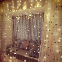 Indoor decoration solar curtain led fairy christmas lighting