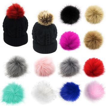 DIY 12Pcs/Lot Pom Pom Fur Balls Fluffy Faux Fox Fur Hat Accessories Beanie Cap Pompom Hair Ball Multicolor Keychain Hand Bag