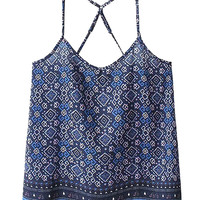 Blue V-neck Contrast Geo Print Strap Back Cami Top