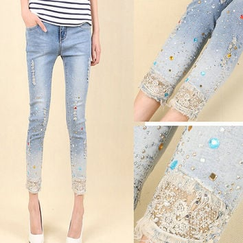Fashion Women Diamond Drilled Jeans Female Broken Hole Feet Pencil Pants Jeans With Rhinestone