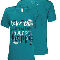 Southern Couture Lightheart Make Your Soul Happy Feather Triblend Front Print Girlie Bright T Shirt