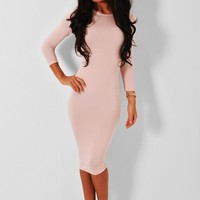 Hillcrest Peach Jersey Bodycon Midi Dress | Pink Boutique