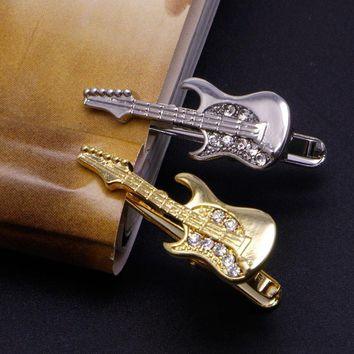 Men's Snazzy Guitar Collection Tie Bars/Clips - 2 Colors