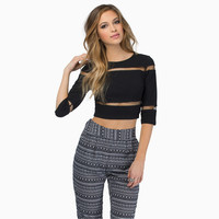 Mesh Shoulder and Waist Lining Cropped Top