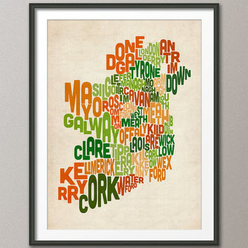 Ireland Eire County Text map, Art Print 18x24 inch (222)