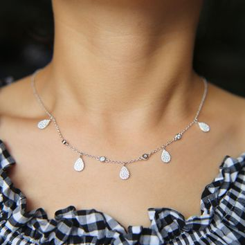 Collier Limited Collares 2017 Summer Girl Bezel Cz Station Necklace Simulated Yard Tear Drop Choker Color 925 Sterling Women