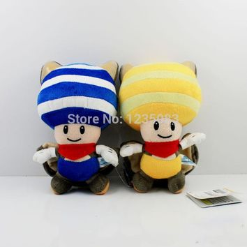 "Super Mario party nes switch  Bros Plush Flying Squirrel Yellow & Blue Toad Soft Toy Doll 8"" AT_80_8"