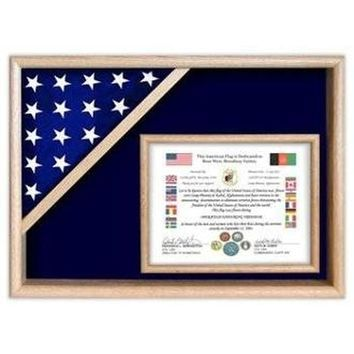 Flag Display Cases - Certificate Flag Shadow Box Hand Made By Veterans