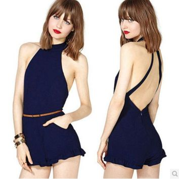 DCCKJ2X CROSS BACKLESS TALL WAIST JUMPSUITS BRIEF PARAGRAPH DARK BLUE BACK INVISIBLE ZIPPER