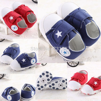 New Cute Soft Cotton Solid Blue&Red Infant Anti-slip New Born Boys Girls PreWalkers Climb Casual Baby Shoes For Baby 0-18months
