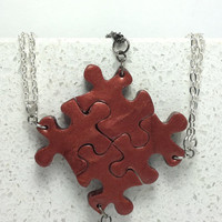 Puzzle Necklace Bridesmaid Best Friend Jewelry Set of 4 Necklaces Bronze Polymer Clay Set  230