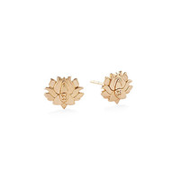Alex and Ani Lotus Peace Petals Stud Earrings 14kt Gold Plated