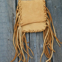 Fringed leather hip bag Buckskin belt bag Smartphone / iphone bag