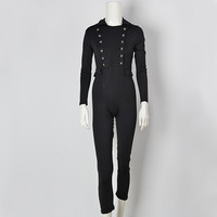 GJ99 Woman Vintage Black Long Sleeve Double Breasted Tux Skinny Jumpsuits Formal Catsuit