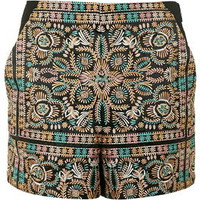 High-Waisted Embroidered Shorts - Black