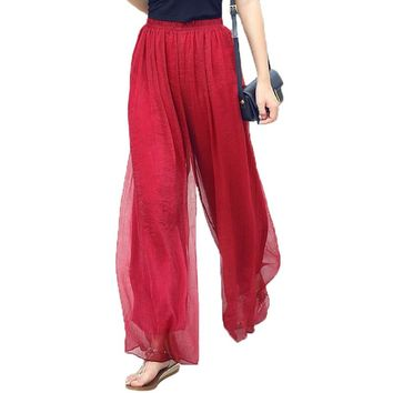 2017 Summer Slim Fluid Wide Leg Pants Female Trousers Fancy Plus Size High Wide-Leg Pants Feet Straight Casual Boot Cut