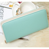 2016 Fashion women wallet candy color PU leather wallet long Ladies clutch coin purse casual handbag Carteira Feminina DL1989