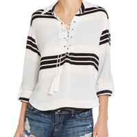 Faithfull the Brand Lace-Up Stripe Shirt | Bloomingdales's