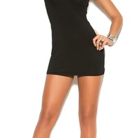 Black Mini Dress with Caged Net Neckline