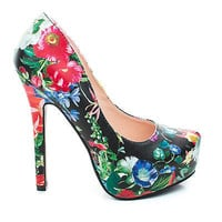 Vivian Black Flower By Speed Limit 98, High Heel Classic Pump w/ Hidden Platform