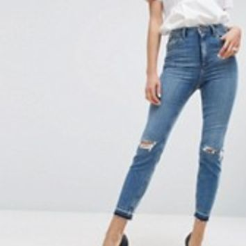 Boohoo Color Block Mom Jeans at asos.com