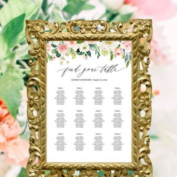 Printable wedding seating chart template alphabetical / by table, Floral wedding table seating chart template, Bridal shower seating chart