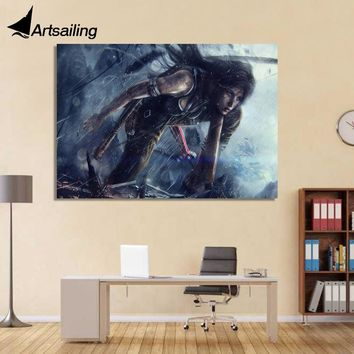 1 Piece canvas art canvas painting tomb raider girl armd HD printed poster home decor wall pictures for living room XA1668C