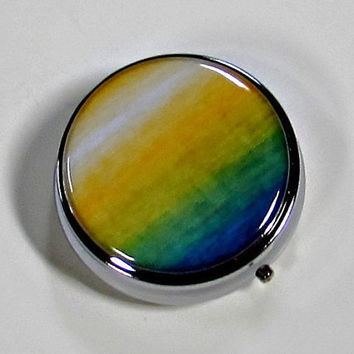 Pill Box Metal Case Watercolor Yellow Green Blue
