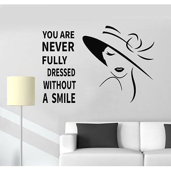 Vinyl Wall Decal Words Smile Quote Beautiful Woman Hat Stickers Mural (g989)