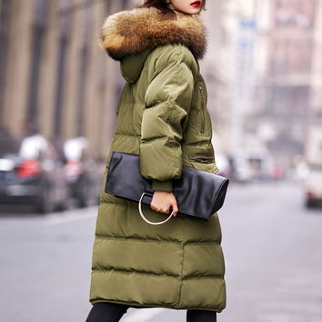 Women's Down Jacket Fur Collar Oversized Coats Hooded Winter Jacket Women Warm Down Cotton Coat Long Jackets Female Parkas C2602