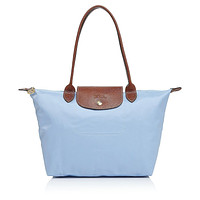 NWT Longchamp Le Pliage Medium Shoulder Tote BLUE MIST GOLD