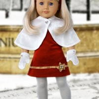"""Happy Holidays - 6 piece outfit - Red velvet dress for 18"""" AG Doll, white tights, red shoes, head band, white cape & mittens - 18 inch doll clothes (doll not included)"""