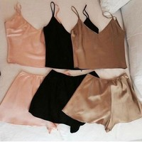 Fashion Sexy Solid Color Two Piece Sleepwear Pajamas Set