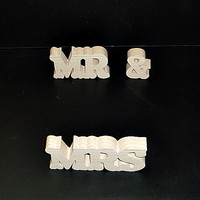 Mr & Mrs Wedding Reception Stand Alone Wood Letters Unfinished Style 2 Stk No. M-2-.75-2-UC-SA
