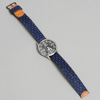 the hill side - wb 155 linen indigo discharge print watch band pindot